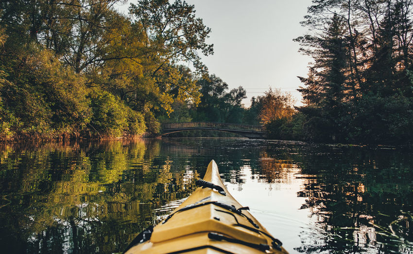 Kayaking around Toronto Islands Kayaking Autumn Beauty In Nature Day Forest Lake Nature Nautical Vessel No People Outdoors Reflection Scenics Sky Toronto Islands Tranquil Scene Tranquility Transportation Tree Water Perspective On Nature