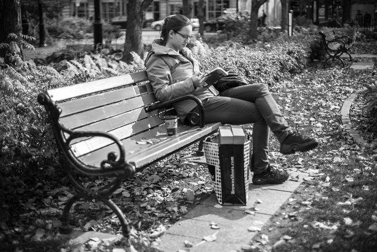 Autumn Park Bench Shopping Adult Bench Black And White Casual Clothing Day Documentary Full Length Leaves Nature Outdoors Park - Man Made Space People Real People Relaxation Sitting Togetherness Young Adult Young Women Bnw_collection