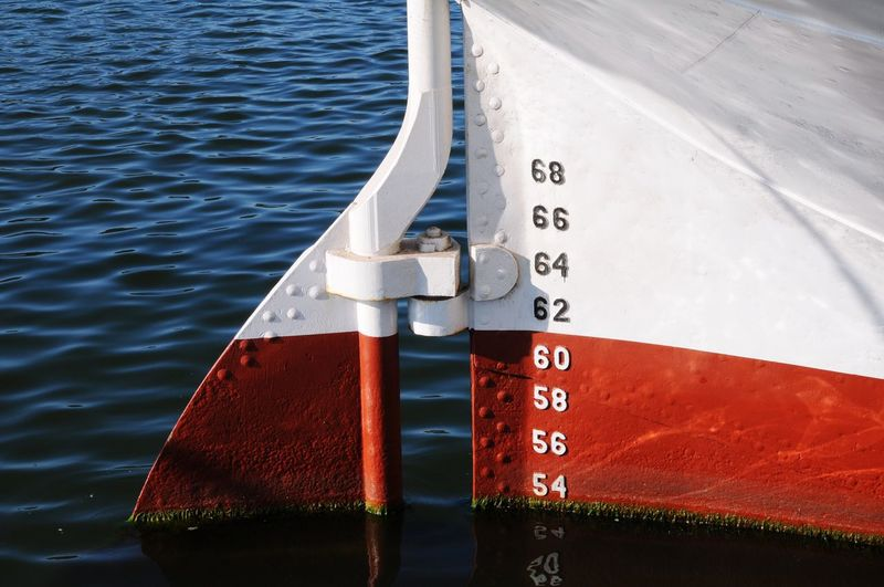 Red Number Water No People Communication Metal Day Outdoors Close-up Sail Sailing Boat Ship Part Submerged Immersed Immersion Transportation