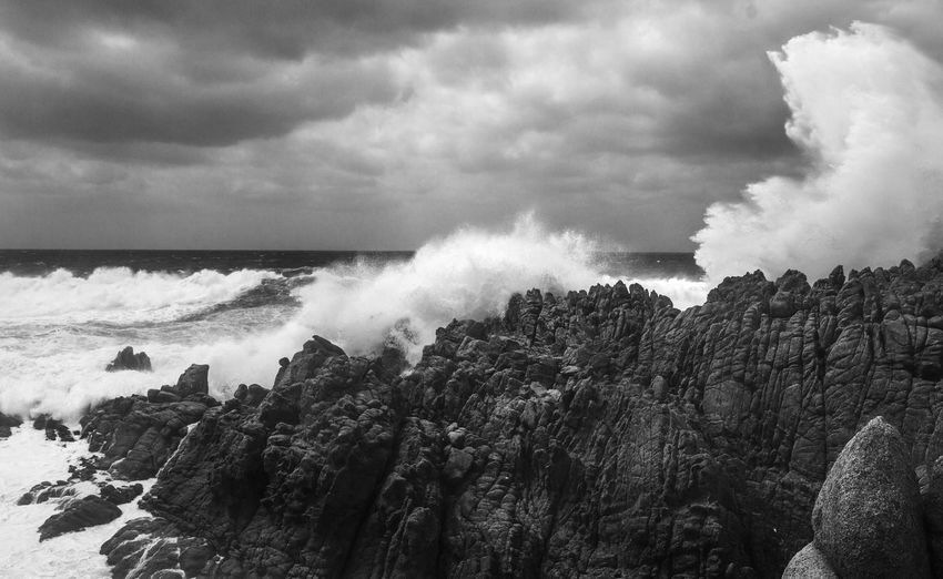 Waves Nature Blackandwhite B&w Coast Power In Nature Wave Water Motion Crash Sky Cloud - Sky Force Storm Cloud Overcast Storm Atmospheric Mood
