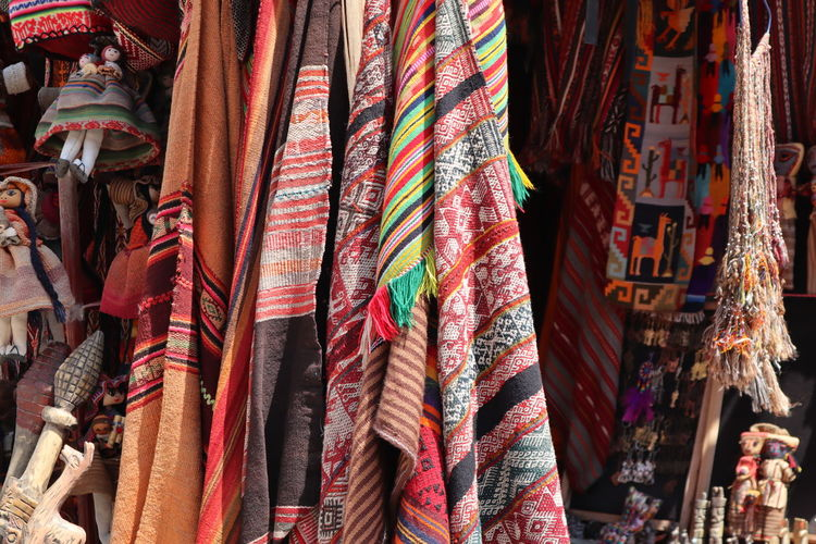 Fabrics for sale at market