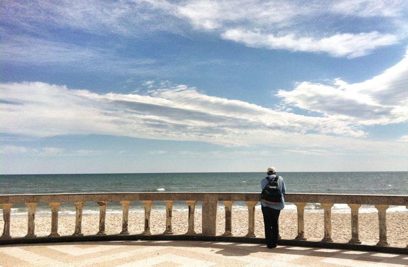 People Watching Sea Enjoying Life Clouds And Sky