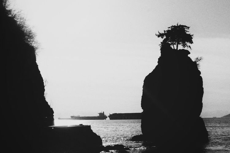 Clear Sky Sea Real People Water Men Outdoors Nautical Vessel Silhouette Day One Person Sky Statue Nature One Man Only People Welcome To Black Blackandwhite Photography Native Native Pride