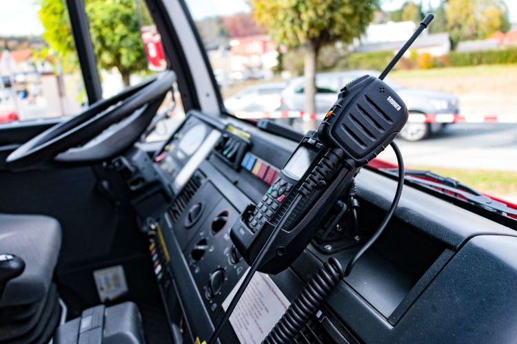 Close-up of walkie-talkie in fire engine