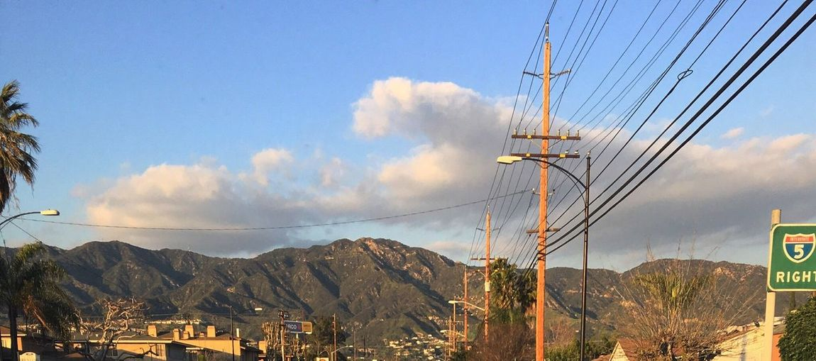 Power Line  Mountain Cloud - Sky Fuel And Power Generation No People Outdoors SoCal East Bound