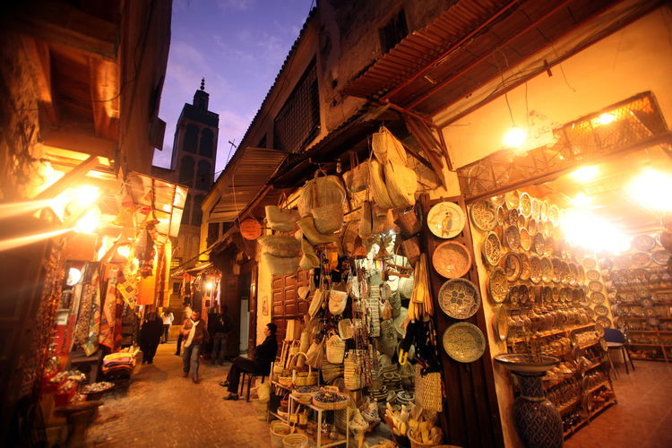 Ceramics for sale at street market during night
