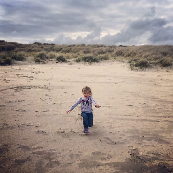 Happiness... Beach Dunes Sand Dune Sand Poole Harbour Poole Poole, Dorset Dorset Dramatic Sky Clouds Landscape Run Kids Children Play Family Purbeck