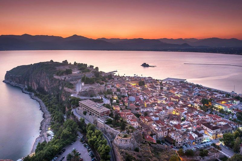 The Fortress Of Palamidi Palamidi Nafplion Greece Cityscapes Citylights City View  Sunset SummerNights