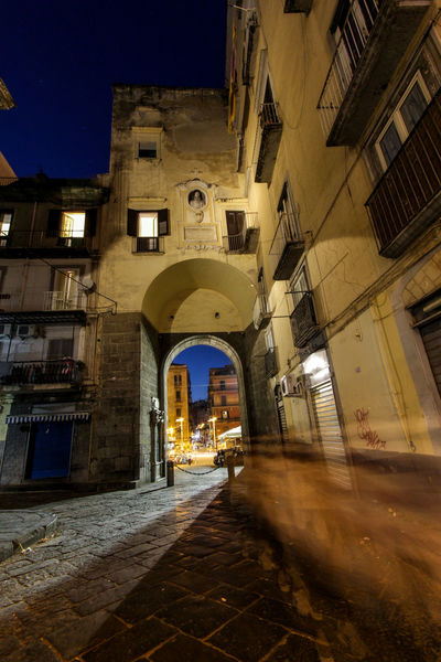 City Walls Downtown Naples Naples, Italy Napoli Night Scene Old Town Arch Architecture Building Exterior Built Structure Illuminated Nightlife No People Old City Sky