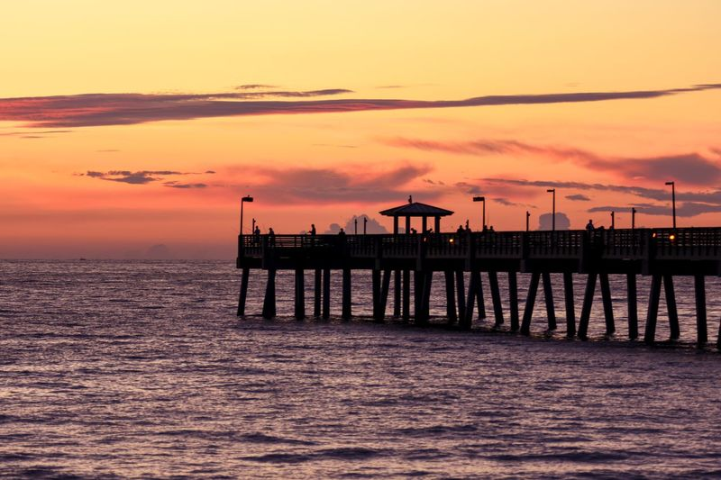 Pink sunrise Sunset Sky Water Sea Cloud - Sky Architecture Built Structure Scenics - Nature Beauty In Nature Orange Color Pier Silhouette Nature Bridge Tranquility Tranquil Scene Transportation Waterfront Connection Bridge - Man Made Structure