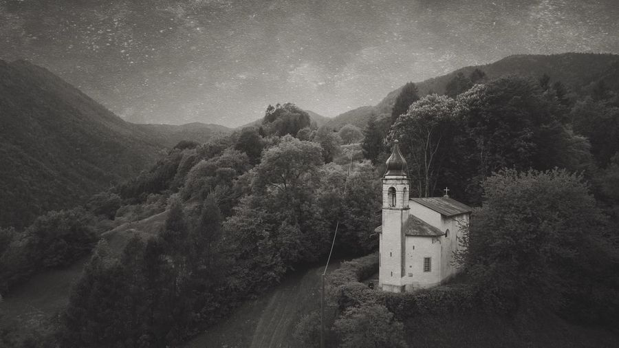 Chiesa di San Giorgio. Blackandwhite EyeEm Best Shots Aerial View Church Belief Religion Spirituality Architecture Built Structure Building Exterior Building The Past Outdoors Tree History No People