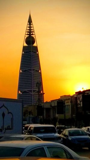 Faisaleiah Tower, Riyadh, KSA Riyadh KSA Saudi Arabia Sunset Cityscape Skyscraper Urban Skyline Architecture Building Exterior Sky Built Structure Office Building Tower Moody Sky Tall Romantic Sky Tall - High Skyline