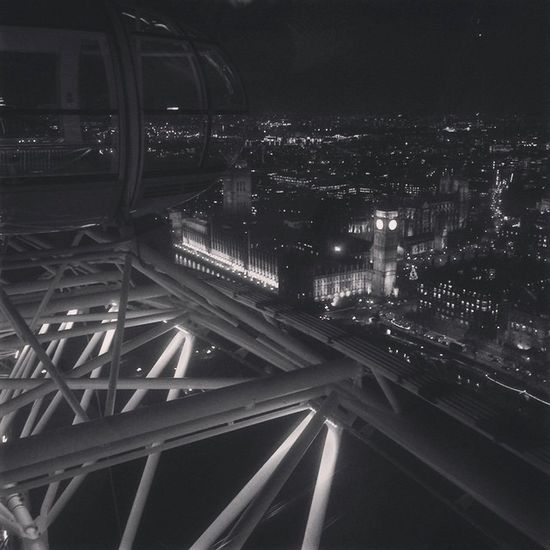 London Eye - Overseeing the Big Ben. London, thank you. Now I'm off to the Netherlands again. London Londoeye Bigben Uk Keepexploring Travel Highasfuck Ferriswheel Solotravelling Backpacking Downtown Downtownlondon Skyscrappers Blackandwhite