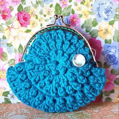 Monedero Coinpurse Vintage Blue Crochet Ganchillo