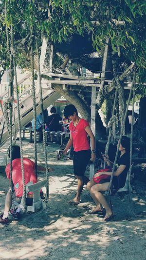Youths Hanging Out Rope Swing Sekinchan, Malaysia