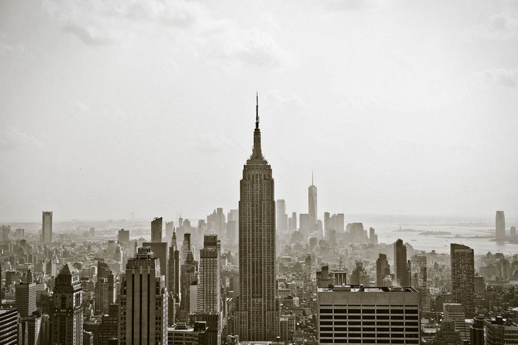 Classic Empire State Building Manhattan New York Old And New Skyline Landscape One World Trade Center