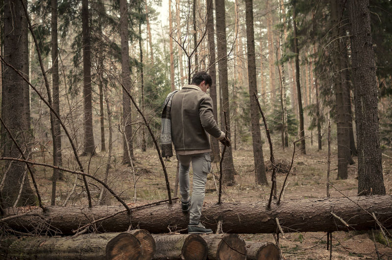 Rear view of young man standing on log in forest