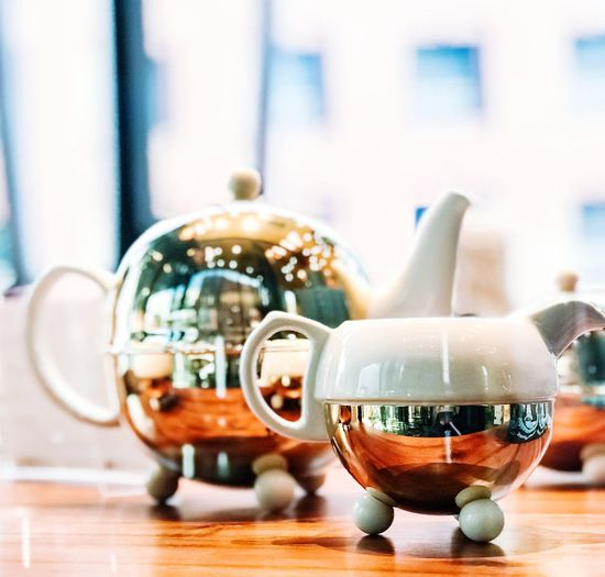 Tea time Kettle Teapot Table Close-up Focus On Foreground Still Life Food And Drink Cup Teapot