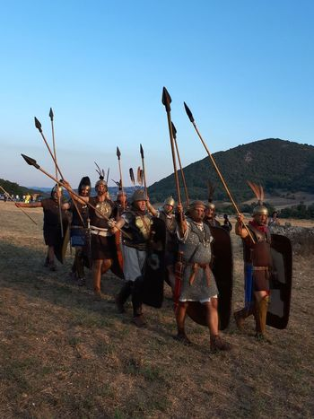 Roman troop in the Numistro battle against Ammibale's army Men People Outdoors Tradition Arts Culture And Entertainment Culture Scenics