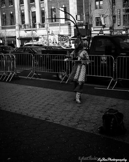 Manhattan Warrior. (Black and White) KyRevPhotography Adobe Lightroom Lightroom Cc Working Editedbyme Wicked Awesome Street Entertainer Entertainer 14th Street Manhattan Sunny Day New York Join The Revolution Eye4photography  Join Our Revolution Shot On IPhone 6s Photo By Me Hello World Black And White Hello World Lightroom Photography