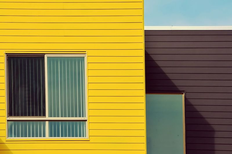 Windows on yellow and brown house