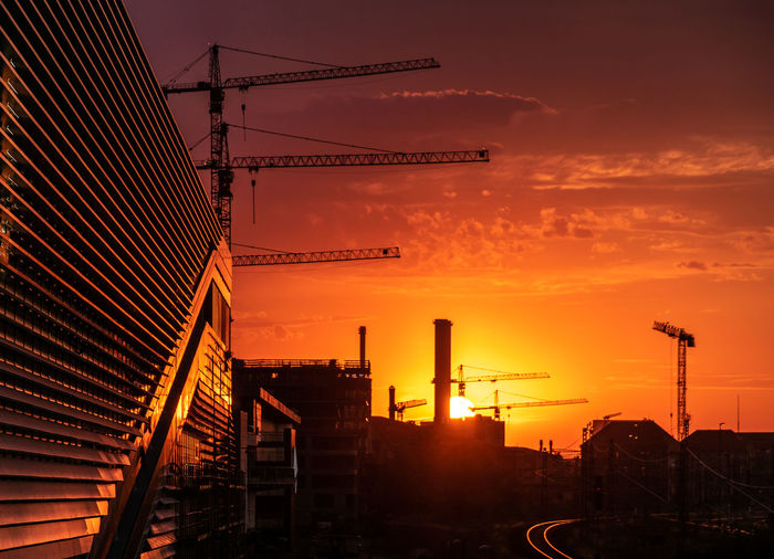 #urbanana: The Urban Playground Friedrichshain Architecture Building Building Exterior Built Structure City Cloud - Sky Construction Equipment Construction Industry Construction Site Crane - Construction Machinery Development Industrial District Industry Machinery Nature No People Orange Color Outdoors Silhouette Sky Sun Sunset Urban HUAWEI Photo Award: After Dark Be Brave Summer In The City 50 Ways Of Seeing: Gratitude