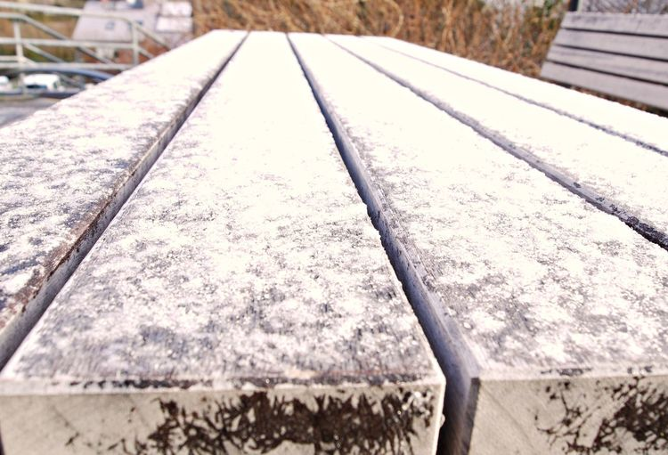 Close-up Cold Temperature Day Focus On Foreground Frost Ice Nature No People Outdoors Wintertime Wood - Material Wooden Desk