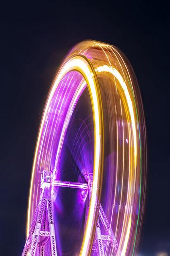 "The famous ""Vienna Ferris Wheel"" // Medium Angle Lights Blurred Motion Blurry Blurred Night Sky Outdoors Illuminated Ferris Wheel Prater Long Exposure Light Trail No People Travel Destinations Low Angle View Famous Place Vienna Ferris Wheel"