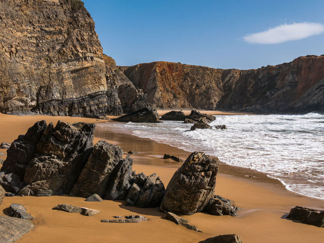 Nature Nature Photography Portugal Rock Rocky Coastline Tranquility Travel Travel Photography Traveling Wave Beach Beauty In Nature Cavaleiro Cliff Nature_collection Photography Rock - Object Sand Scenics Scenics - Nature Sea Sky Tranquil Scene Travel Destinations Water