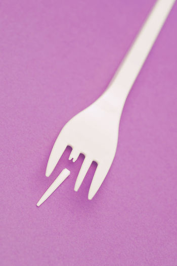 pastic fork with a broken tooth Accident Break Broken Close Up Close-up Concept Conceptual Cutlery Damage Damaged Disposable Fork Misfortune No People Piece Plastic Problem Studio Shot Tableware Tool Useless Weakness