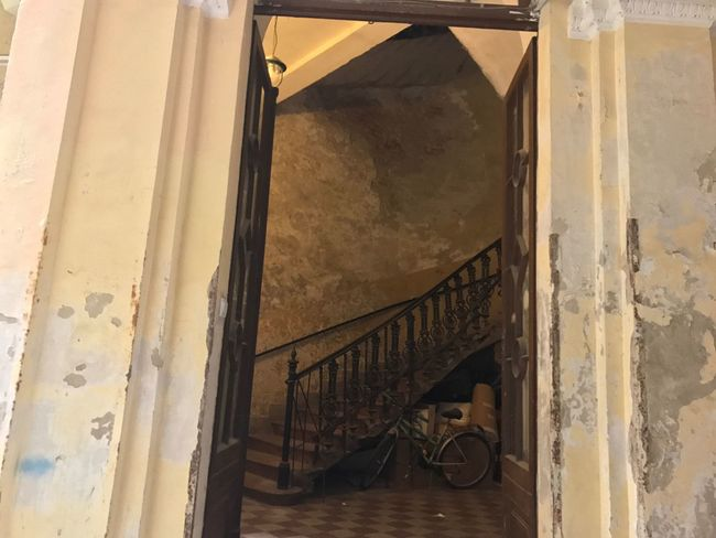 EyeEm Selects Architecture Bicycle Indoors  Old Building  Old Building Interior Peeling Paint Painted Floor Staircase Lobby Checkered Tiles Plaster Walls Cracked