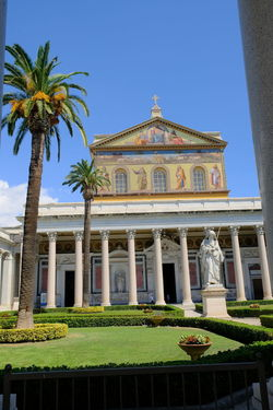 Rome, Italy - August 12, 2017: The Papal Basilica of St. Paul outside the Walls, one of Rome's four ancient, Papal, major basilicas Architecture Basilica Basilica Di San Paolo Church Colonnade Italia Religious Art Roma Rome St Paul Architecture Basilica Di San Paolo Fuori Le Mura Buidings Building Exterior Built Structure Italy No People Outdoors Outside The Wall Religion Religions Religious  Religious Architecture Religious Place