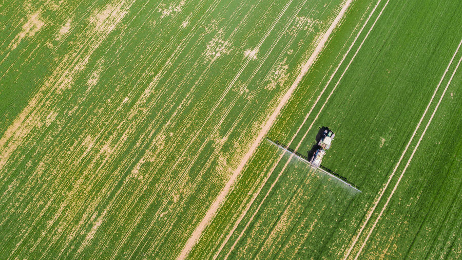 Aerial view of agricultural machinery in farm