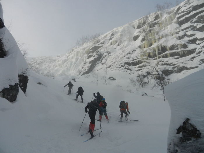 Cross Country Skiing Going Uphill Icefall Ravin Saltoluokta Ravin
