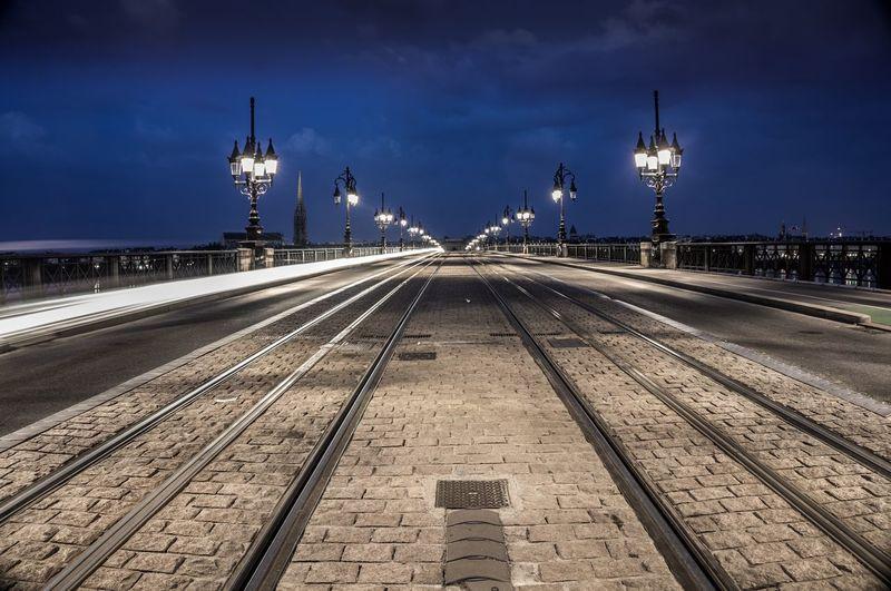Tramway On A Bridge At Night