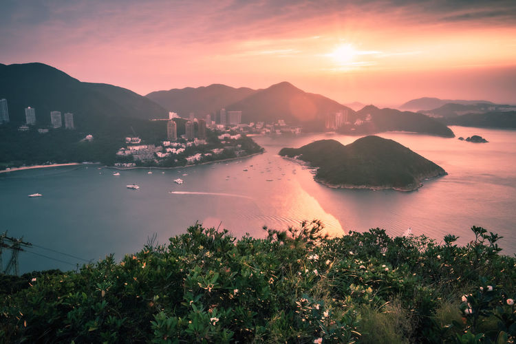 Overlooking view of middle islands in seaside seen form nam long shan in sunrise time