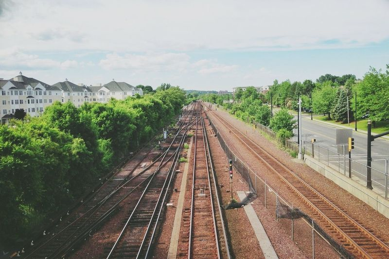 High angle view of railway tracks along plants