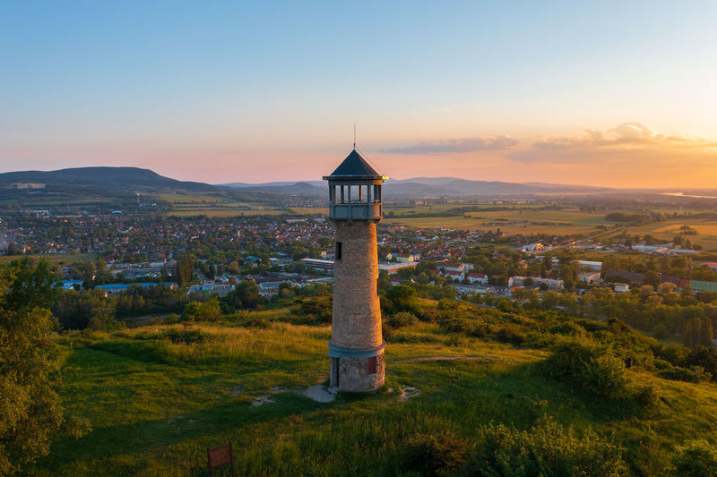 Beautiful aerial landscape about strazsa hill with lookout tower which is located near esztergom.