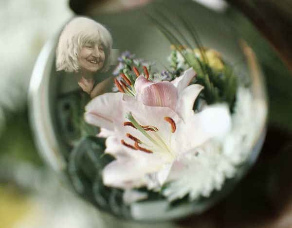 EyeEm Selects Flower Senior Adult Fragility Petal Close-up In Loving Memory Loving Memories Loving Memory Mum RIP :( Rip Love Lily Lily Flower Crystal Ball Crystal Ball Photography Photo Merge Adult