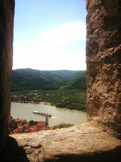 Window View Mountain Outdoors Water Beauty In Nature Travel Destinations Danube Sky Day Scenics