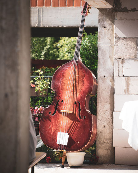 Vintage Wood Wodden Old Rest Resting Wall Brick Brick Wall Band Bass Wedding Day Wedding String Music Instrument Musical Instrument Musical Hanging Woodwind Instrument String Instrument Musical Equipment Musical Instrument String