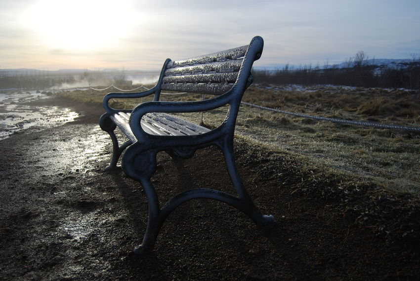 Bench Dew Frost Ice Iceland Misty Beauty In Nature Grass Icy Icy Wonderland Icy Bench Landscape Nature No People Outdoors Scenics Seat Sky Sun Sunrise