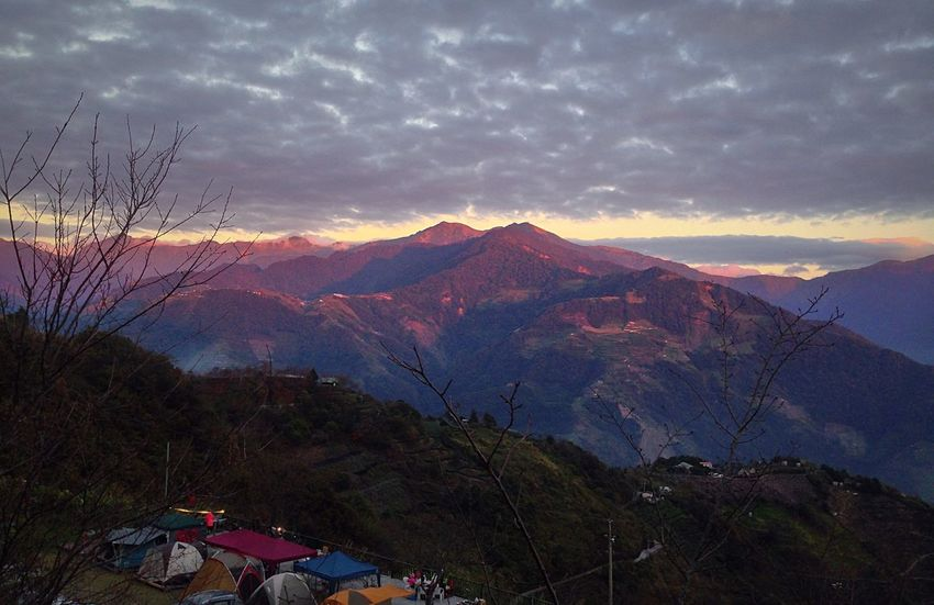 Enjoying The Sun Camping Montains    Sunset