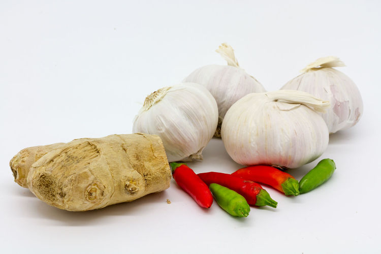 Chilli, garlic and ginger Arrangement Chilli Close-up Cooking Food Freshness Garlic Garlic Bulbs Ginger Green Color Group Of Objects Healthy Eating Isolated No People Organic Raw Food Root Ginger Spices Still Life Studio Shot Variation White Background