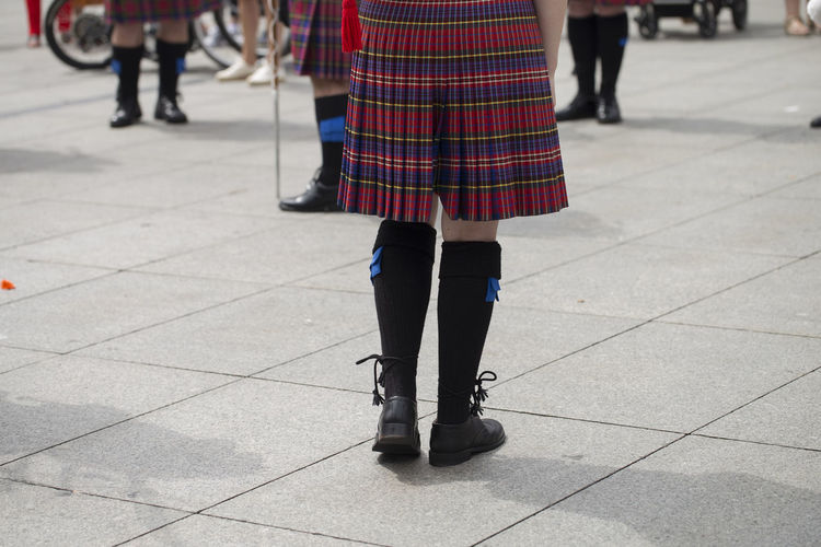 Scottish traditional pipe band Asturias Holiday Music SPAIN Scottish Sunny City Clothing Day Festival Folklore Human Leg Musician Outdoors People Performance Pipe Band Real People Shadow Street Summer Tartan Traditional