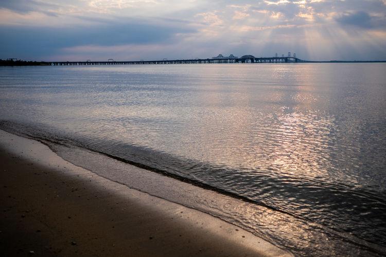 Chesapeake Bay Bridge Chesapeake Bay Water Low Tide Sea Sunset Beach Desert Wave Sand Swimming Blue View Into Land