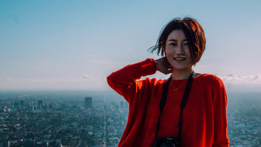 Asian  Blue Sky Chinese City View  Female Girl Photographer