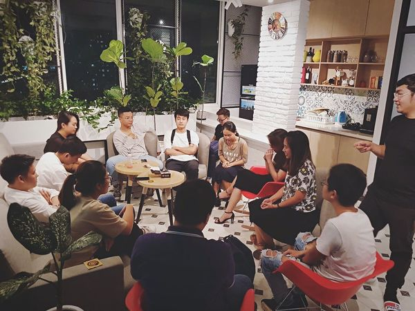 When we're together Real People Crowd Group High Angle View Togetherness Casual Clothing Indoors