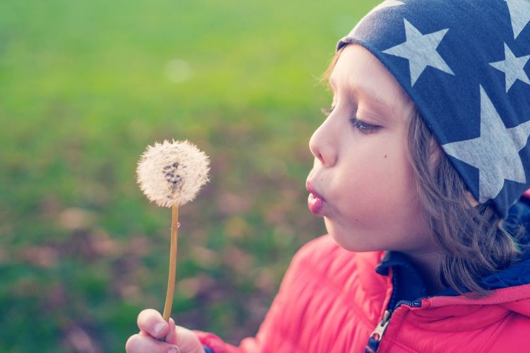 Close-Up Of Girl Blowing Dandelion Flower