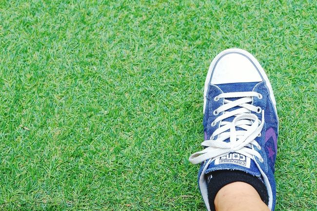 converse cons on greensward grassGreen Color Shoe High Angle View Human Leg Outdoors Sport One Woman Only Human Body Part Grass Adult People Green Sward Lawn Day Nature Background Textured  Green Background Backgrounds Grass Green Color Shoe Converse One Star Onestar